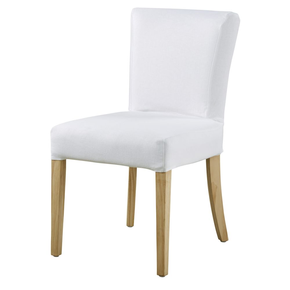 Housse de chaise en lin blanc (photo)