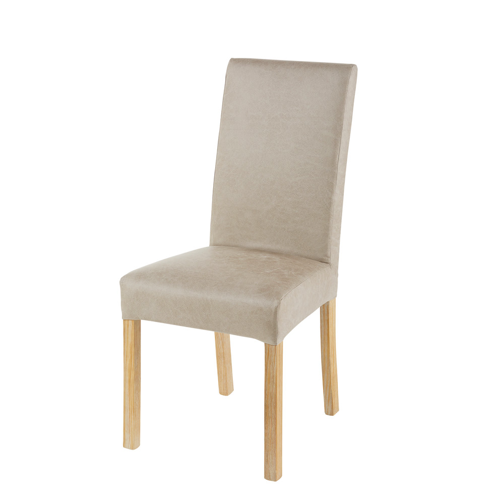 Housse de chaise en microsuède beige 41x70 (photo)