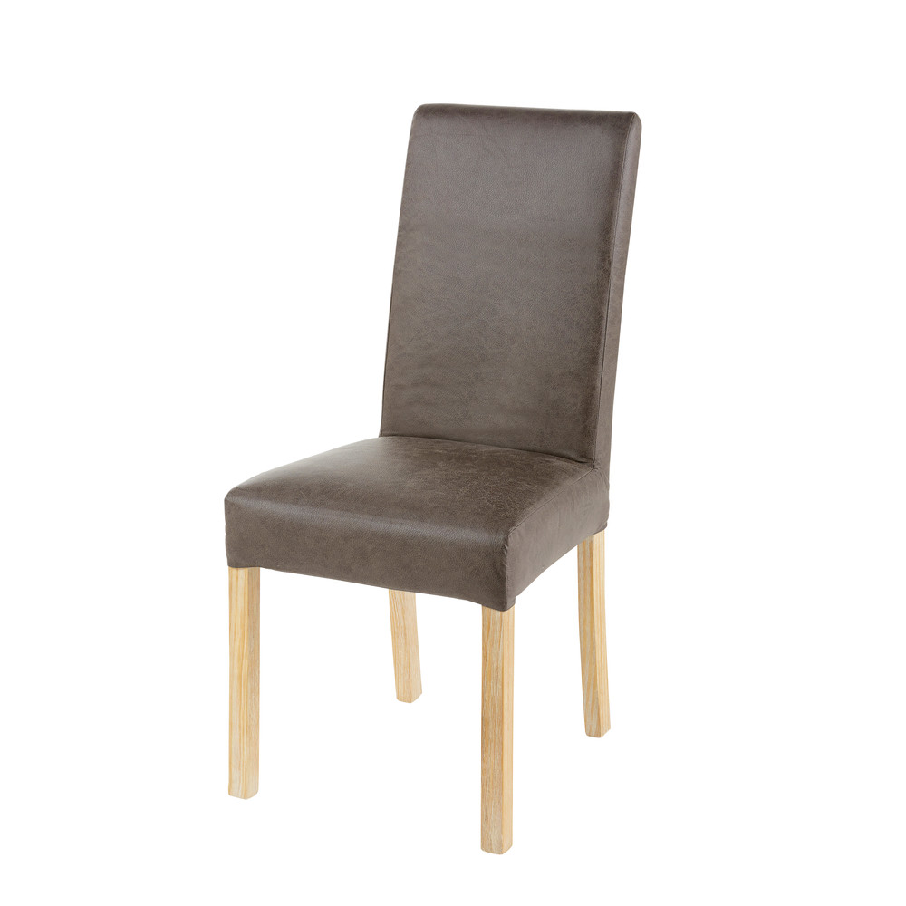 Housse de chaise en microsuède taupe 41x70 (photo)