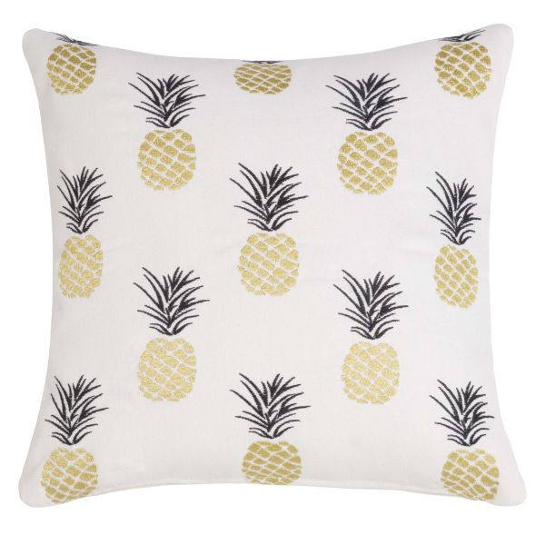 d coration housse de coussin brod e motifs ananas 40x40. Black Bedroom Furniture Sets. Home Design Ideas