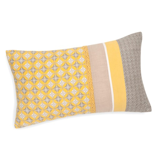 housse de coussin en coton jaune grise 30 x 50 cm valongo maisons du monde. Black Bedroom Furniture Sets. Home Design Ideas