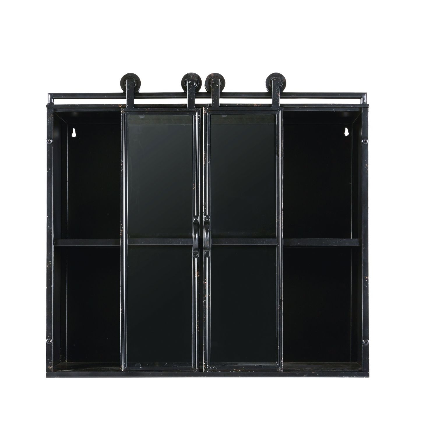 Industrial Style Black Metal And Glass 2 Door Shelving Unit