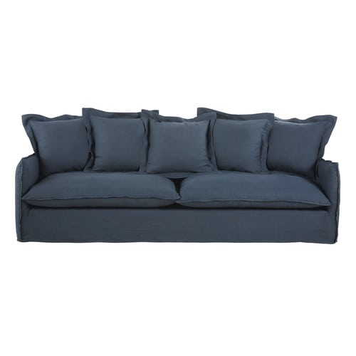 Ink Blue 5-Seater Washed Linen Sofa