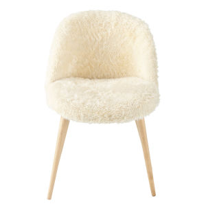 Ivory Faux Fur and Birch Vintage Chair