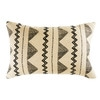 Jute and Cotton Cushion with Black Graphic Motifs 35x55