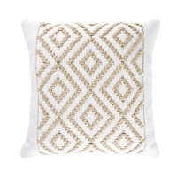 Jute and Cotton Cushion with Graphic Motifs 45x45