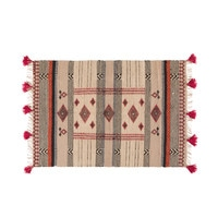 Jute and Cotton Woven Rug with Graphic Motifs 160x230