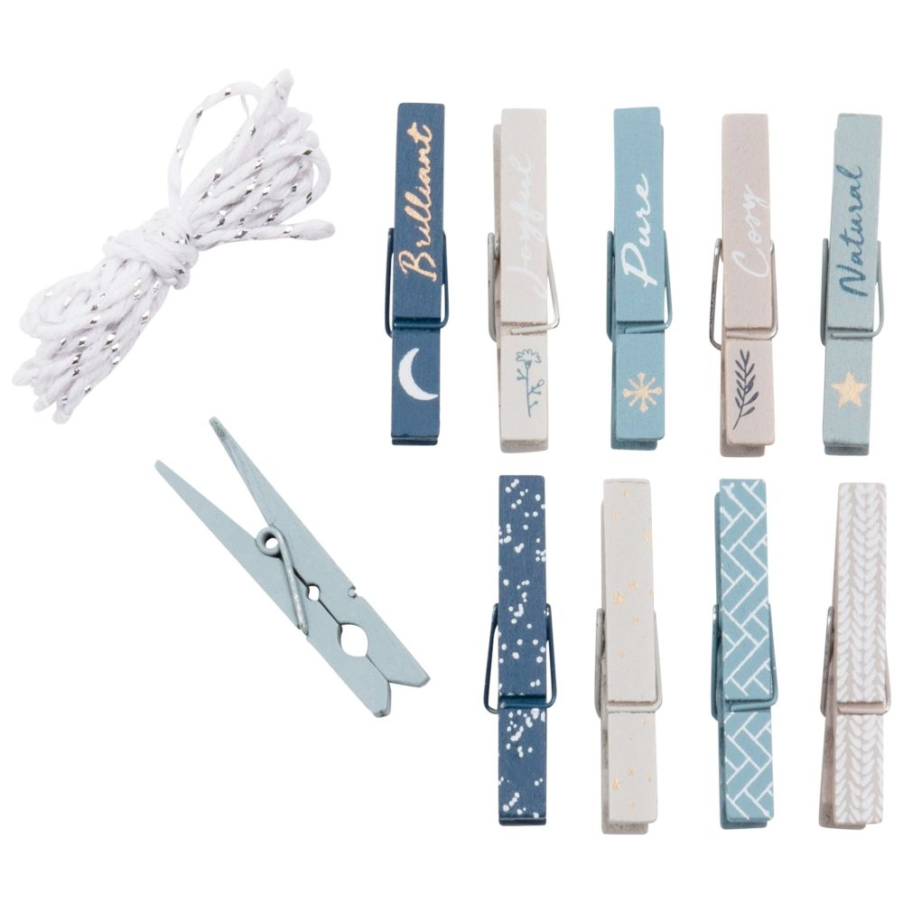 Kit 10 pinces bleu imprimé et ficelle en coton (photo)