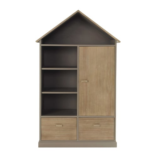kleiderschrank im h tten look aus holz b 110 cm taupe forest maisons du monde. Black Bedroom Furniture Sets. Home Design Ideas