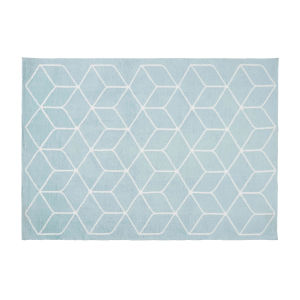 KUBE Blue Rug with Graphic White Motifs 140 x 200 cm