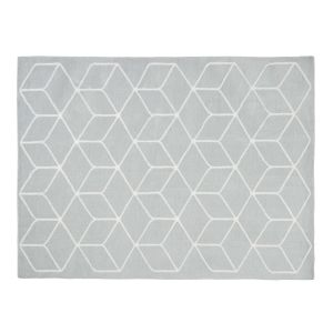 KUBE Grey Rug with Graphic White Motifs 140 x 200 cm