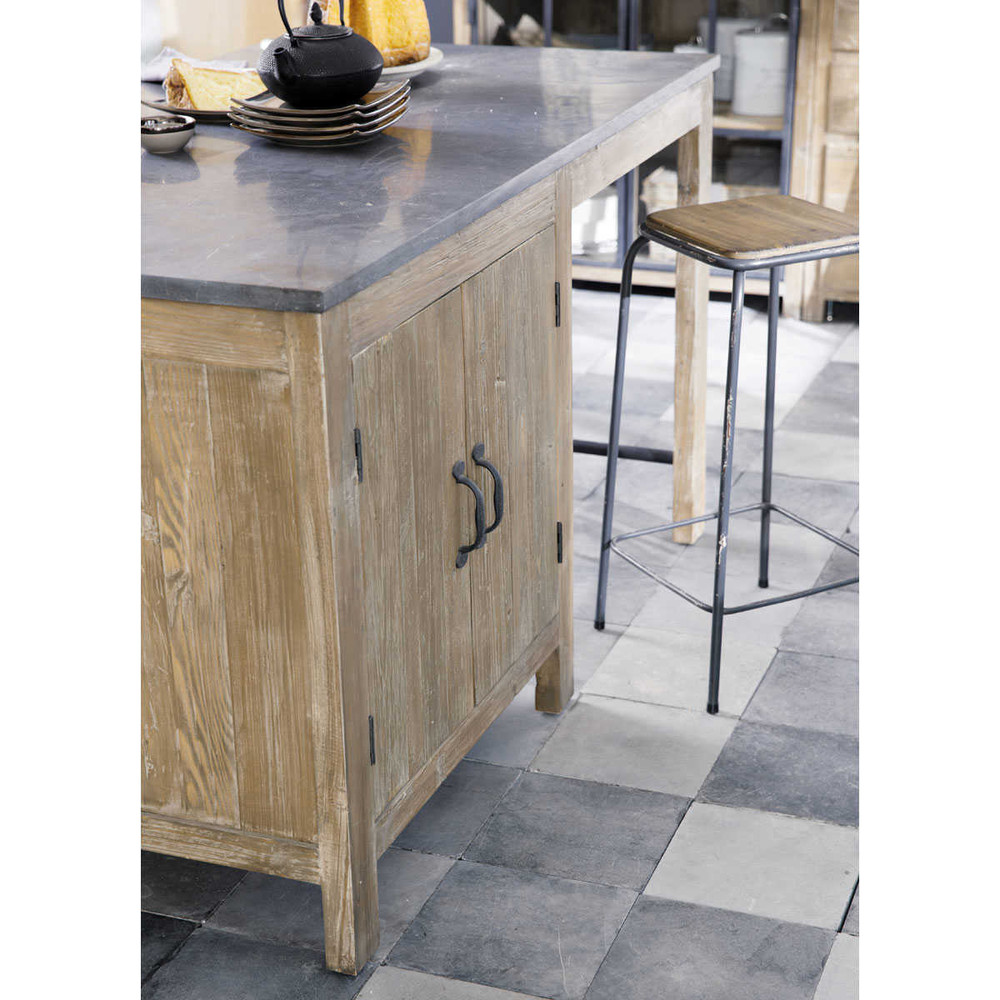 barhocker im industrial stil aus tanne und metall kraft kraft maisons du monde. Black Bedroom Furniture Sets. Home Design Ideas
