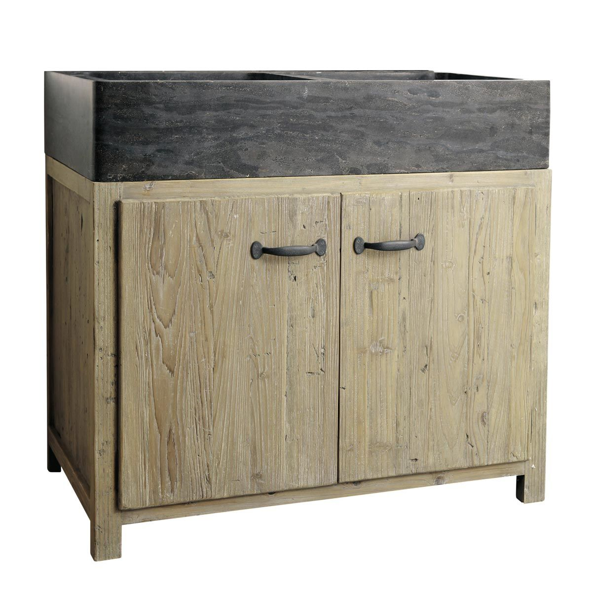 k chenunterschrank aus recyceltem kiefernholz mit sp le maisons du monde. Black Bedroom Furniture Sets. Home Design Ideas