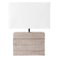 mango wood lamp with fabric lampshade H 32cm Lagon