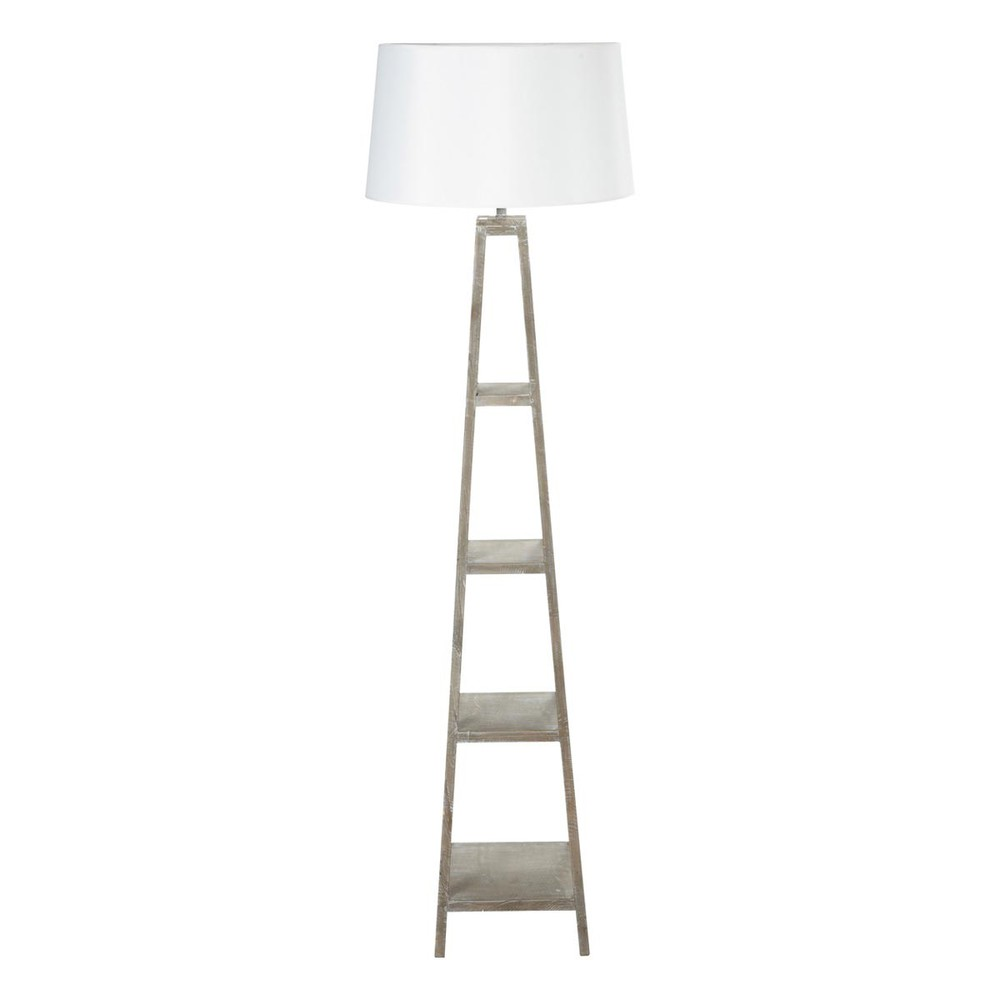 Lampadaire aspect blanc et abat-jour en coton H 170 cm WALLAS (photo)