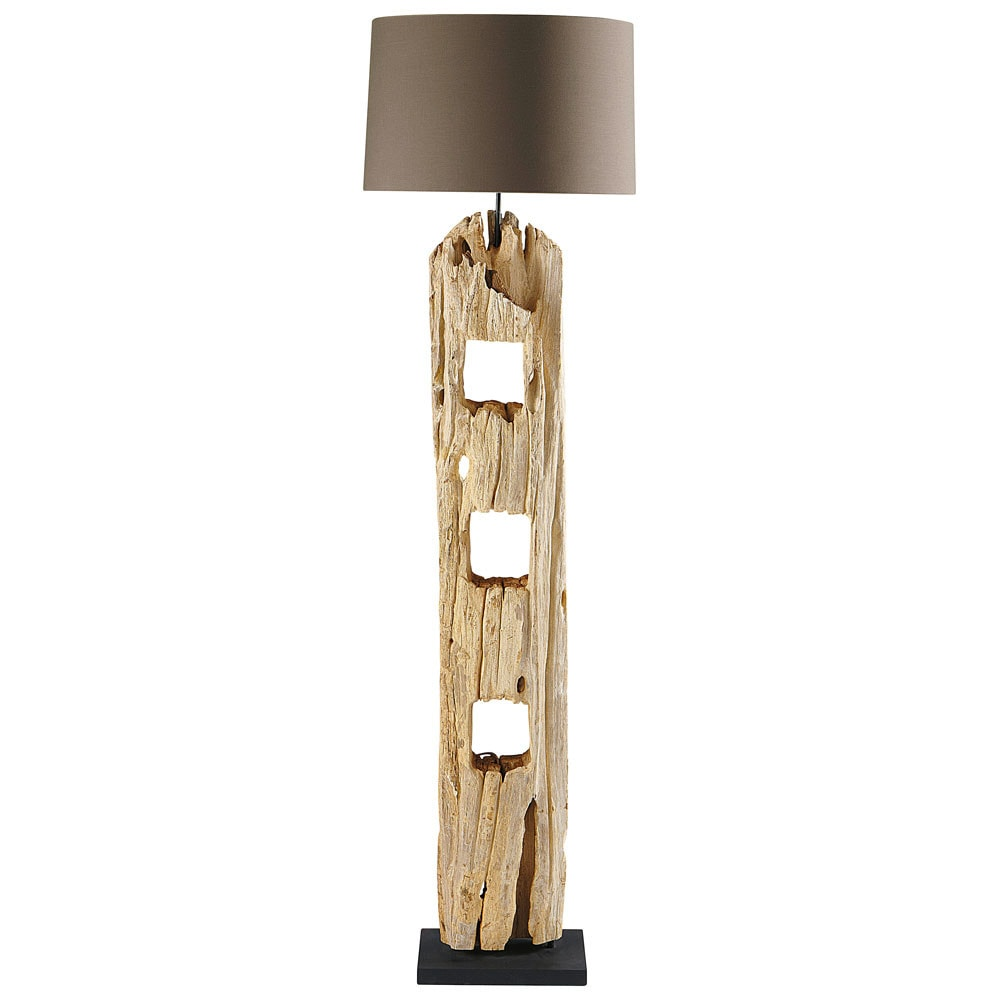 Lampadaire en bois H 170 cm ALPAGES (photo)