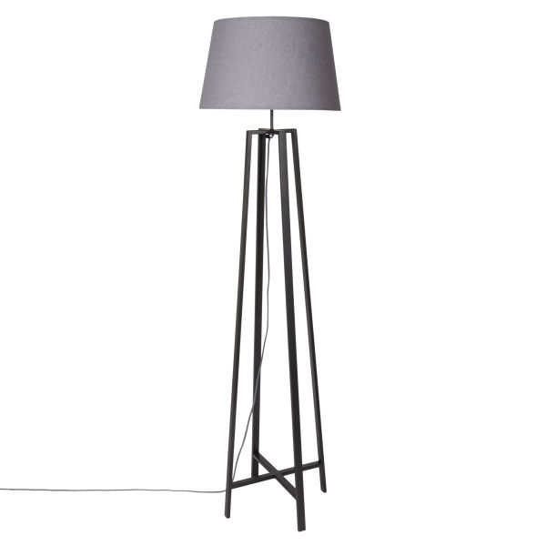 lampadaire en m tal noir abat jour en coton gris cottage synthorga. Black Bedroom Furniture Sets. Home Design Ideas
