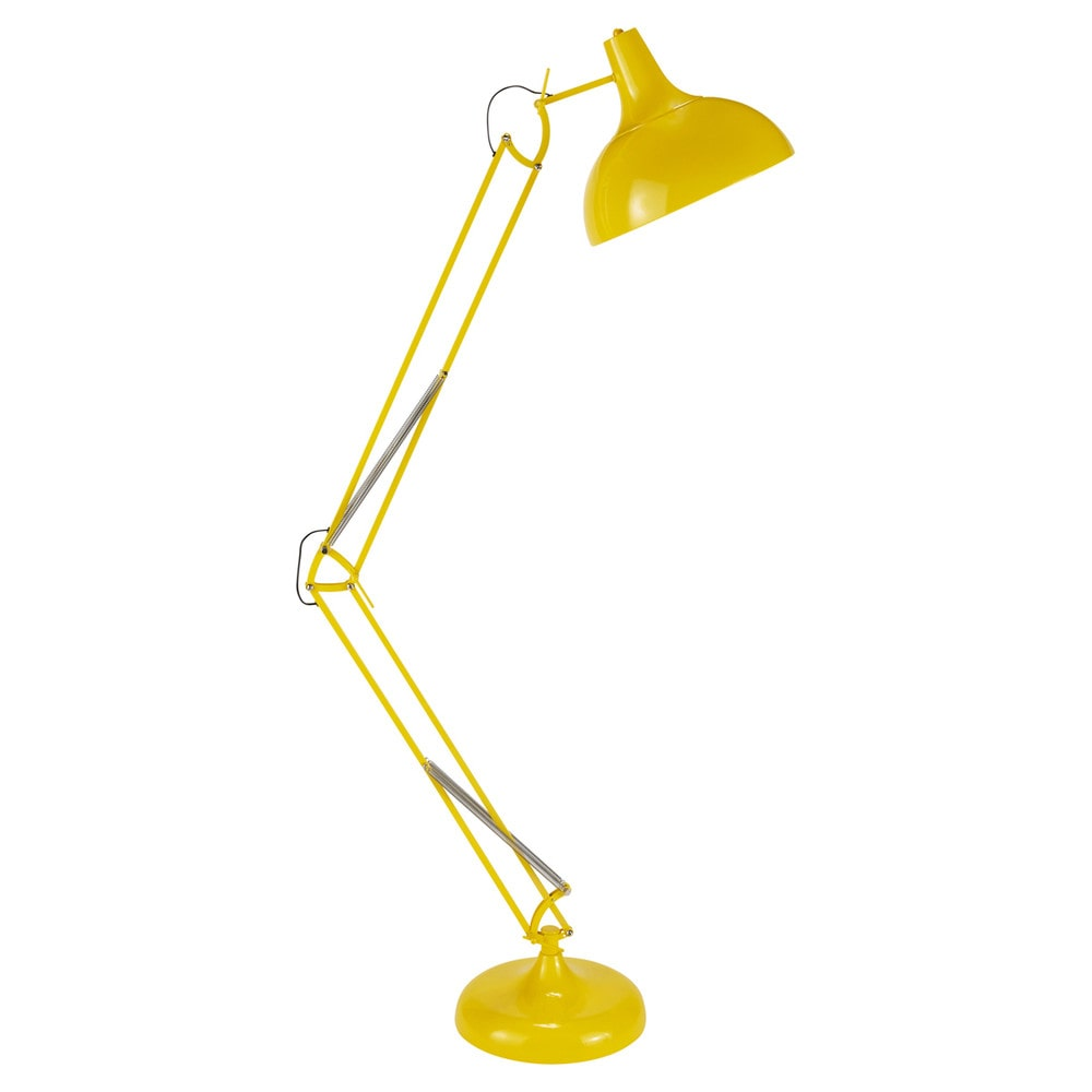 Lampadaire orientable en métal jaune (photo)
