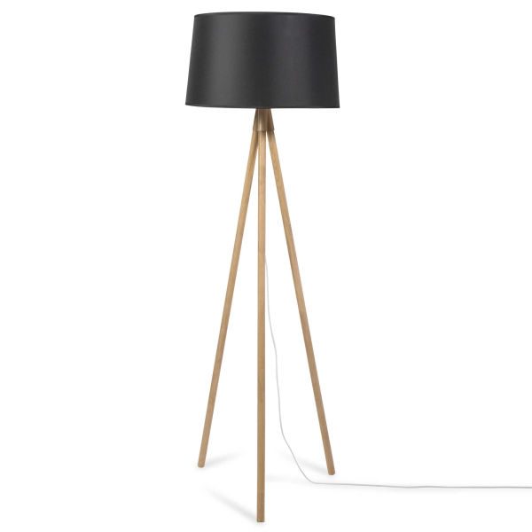 lampadaire tr pied en bois noir h 160 cm leandro. Black Bedroom Furniture Sets. Home Design Ideas