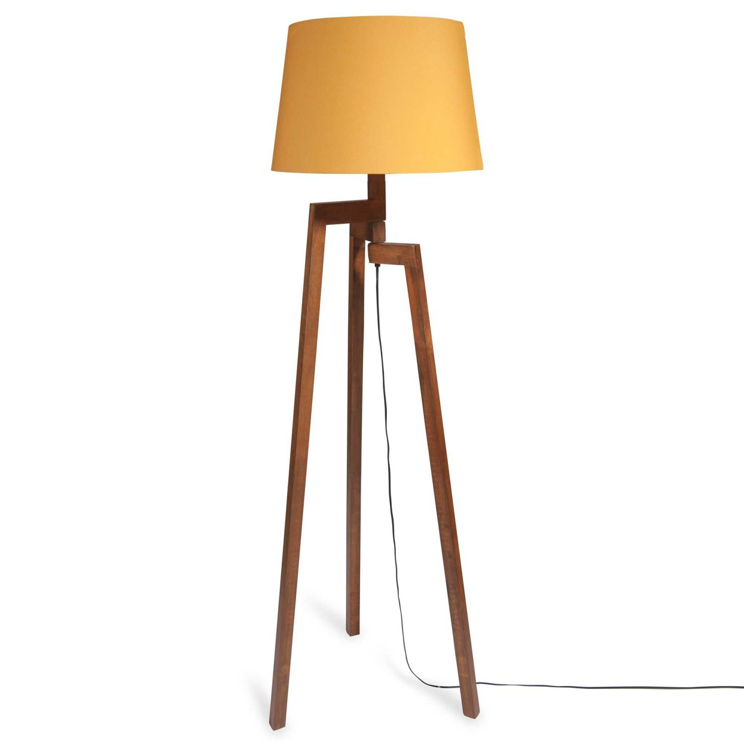 lampadaire tr pied en h v a et abat jour jaune moutarde h150 maisons du monde. Black Bedroom Furniture Sets. Home Design Ideas