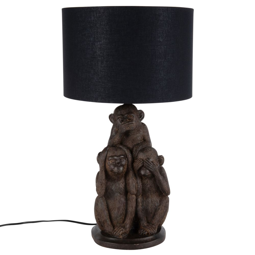 Lampe 3 singes de la sagesse abat-jour noir (photo)