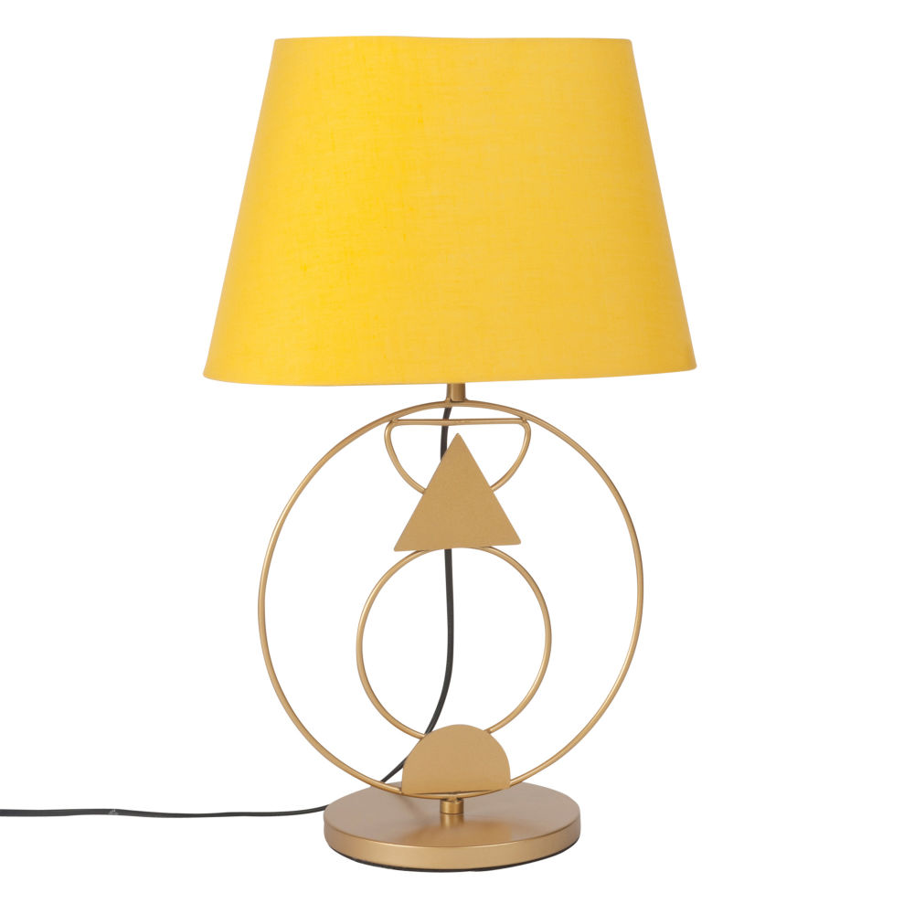 lampe poser en m tal et abat jour jaune moutarde transports delaunay. Black Bedroom Furniture Sets. Home Design Ideas
