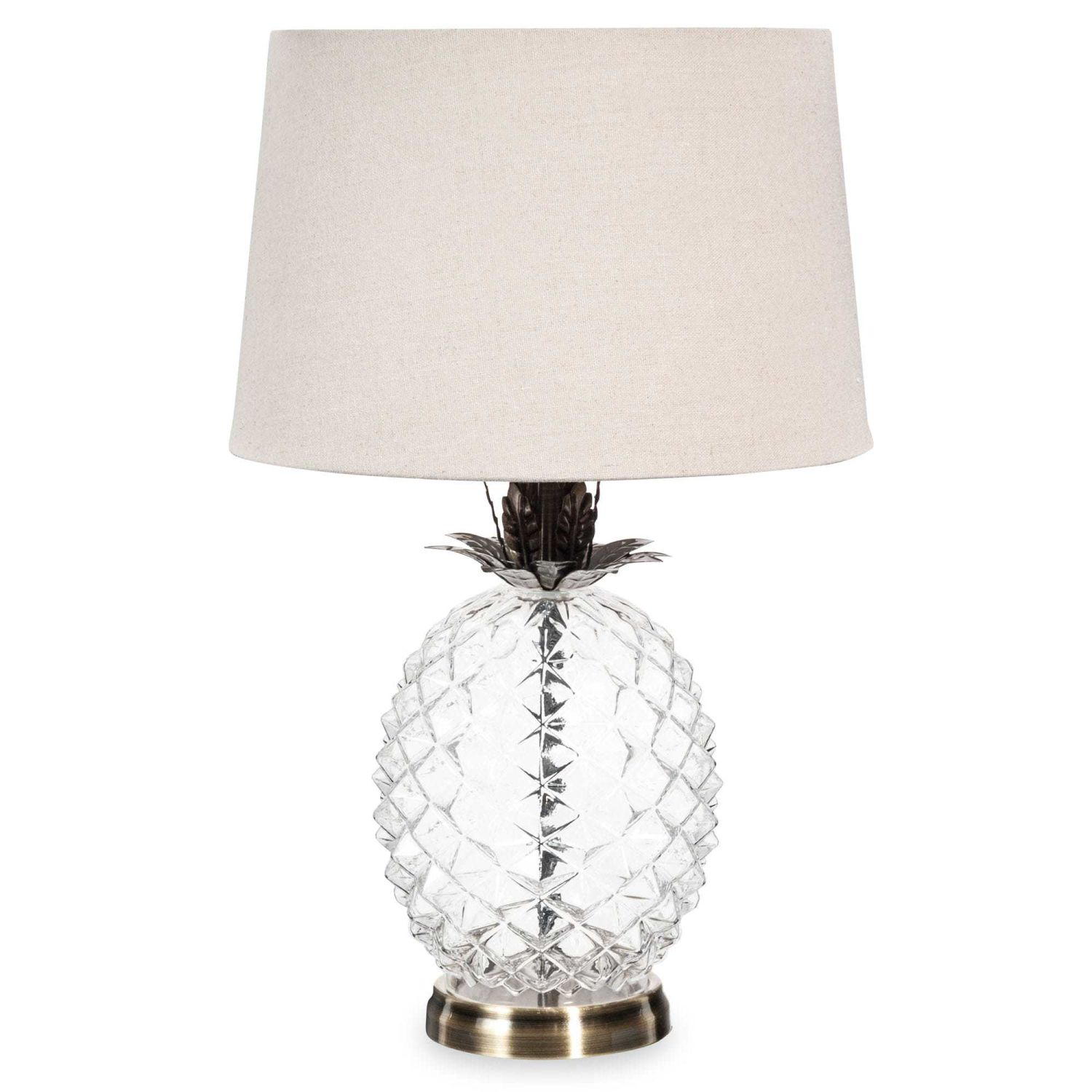 lampe ananas en verre abat jour beige maisons du monde. Black Bedroom Furniture Sets. Home Design Ideas
