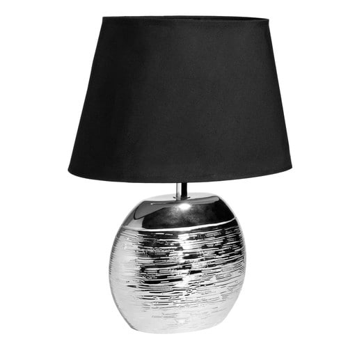 lampe aus keramik silberfarben mit schwarzem lampenschirm saturne maisons du monde. Black Bedroom Furniture Sets. Home Design Ideas