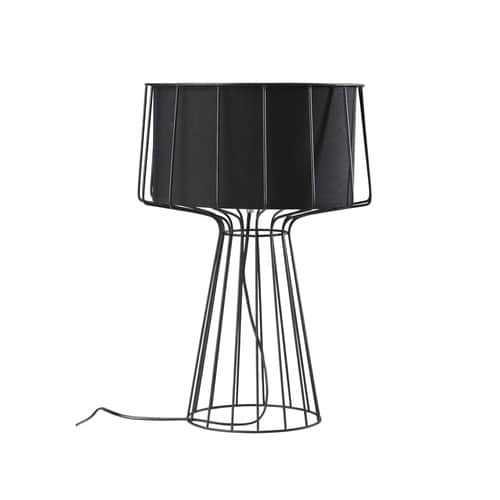 lampe aus metall mit lampenschirm aus schwarzer baumwolle h 53 cm pulse maisons du monde. Black Bedroom Furniture Sets. Home Design Ideas