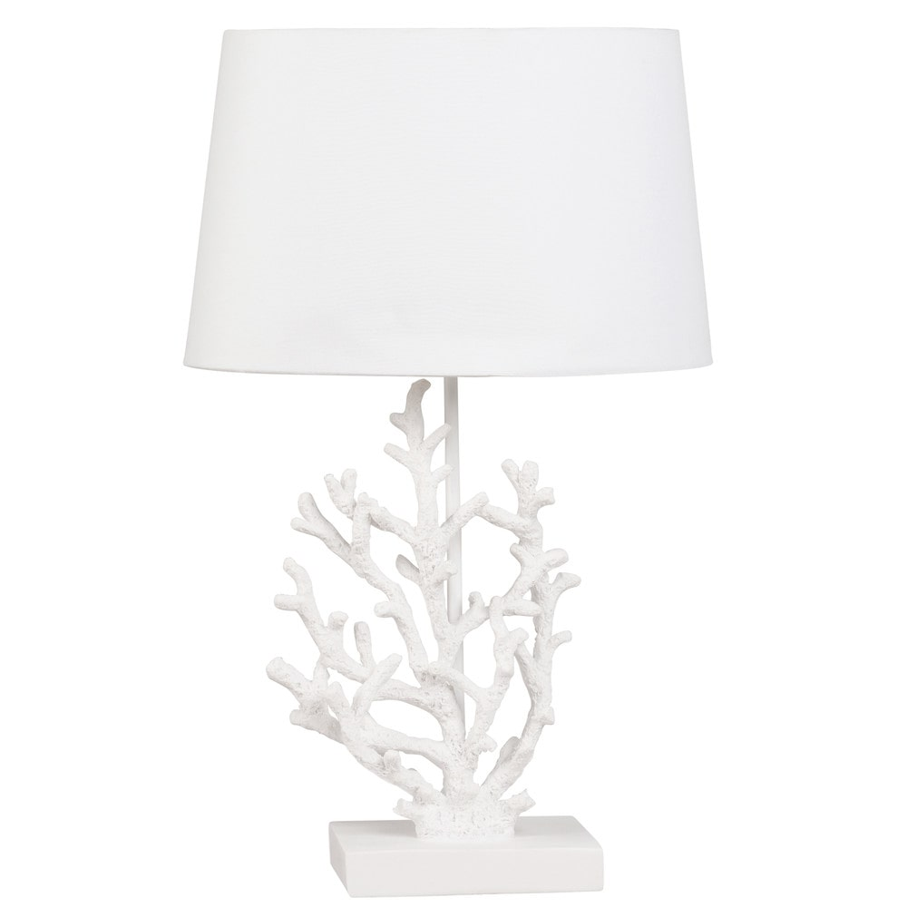 Lampe corail et abat-jour blancs (photo)