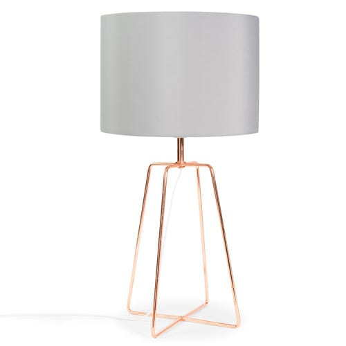 lampe crossy copper aus metall mit lampenschirm aus grau stoff h 49 cm kupferfarben maisons. Black Bedroom Furniture Sets. Home Design Ideas