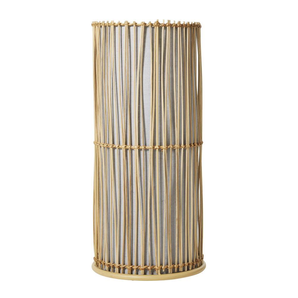 Lampe cylindrique en rotin (photo)