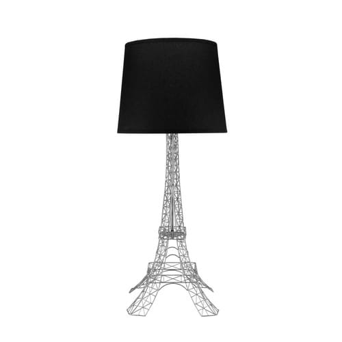 lampe en m tal et abat jour en coton noire h 73 cm monument tour eiffel maisons du monde. Black Bedroom Furniture Sets. Home Design Ideas
