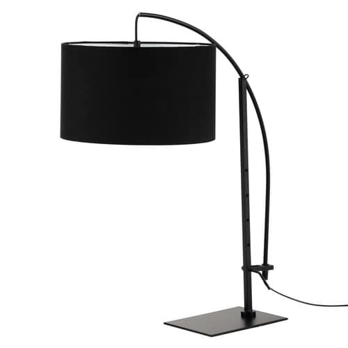 lampe en m tal noir et abat jour en coton noir h 64 cm torino maisons du monde. Black Bedroom Furniture Sets. Home Design Ideas
