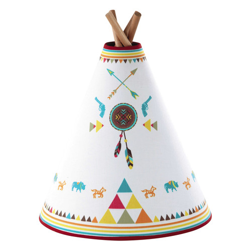 lampe enfant tipi en bois et abat jour coton multicolore h 32 cm apache maisons du monde. Black Bedroom Furniture Sets. Home Design Ideas