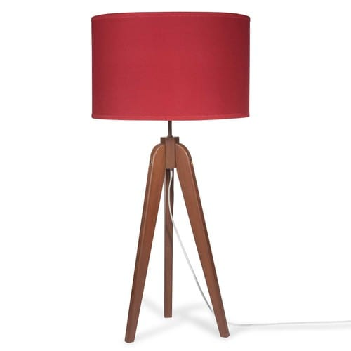lampe tr pied en bois avec abat jour rouge h 83 cm luce. Black Bedroom Furniture Sets. Home Design Ideas