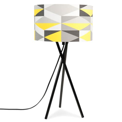 lampe tr pied en m tal jaune grise h 51 cm yellow. Black Bedroom Furniture Sets. Home Design Ideas