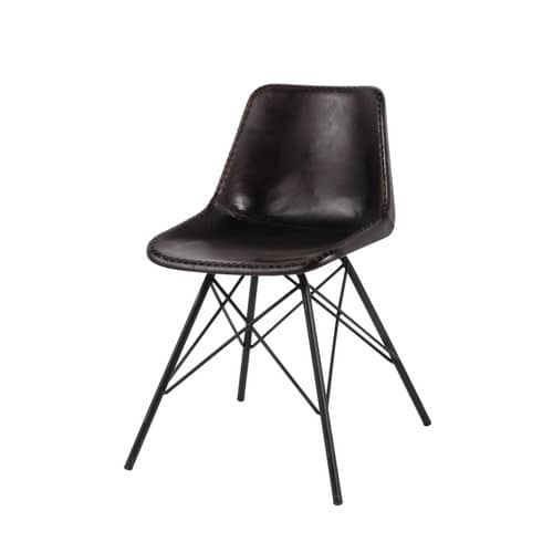 Leather and metal industrial chair in black