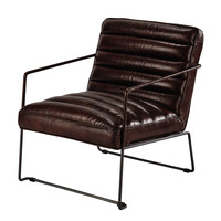 Leather armchair in brown Pearl
