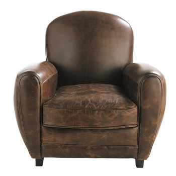 leather club armchair in brown oxford