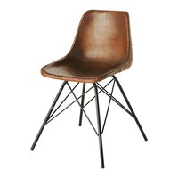 Leather Industrial Chair in Brown