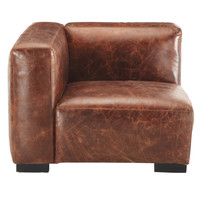 Leather left sofa arm unit in brown John