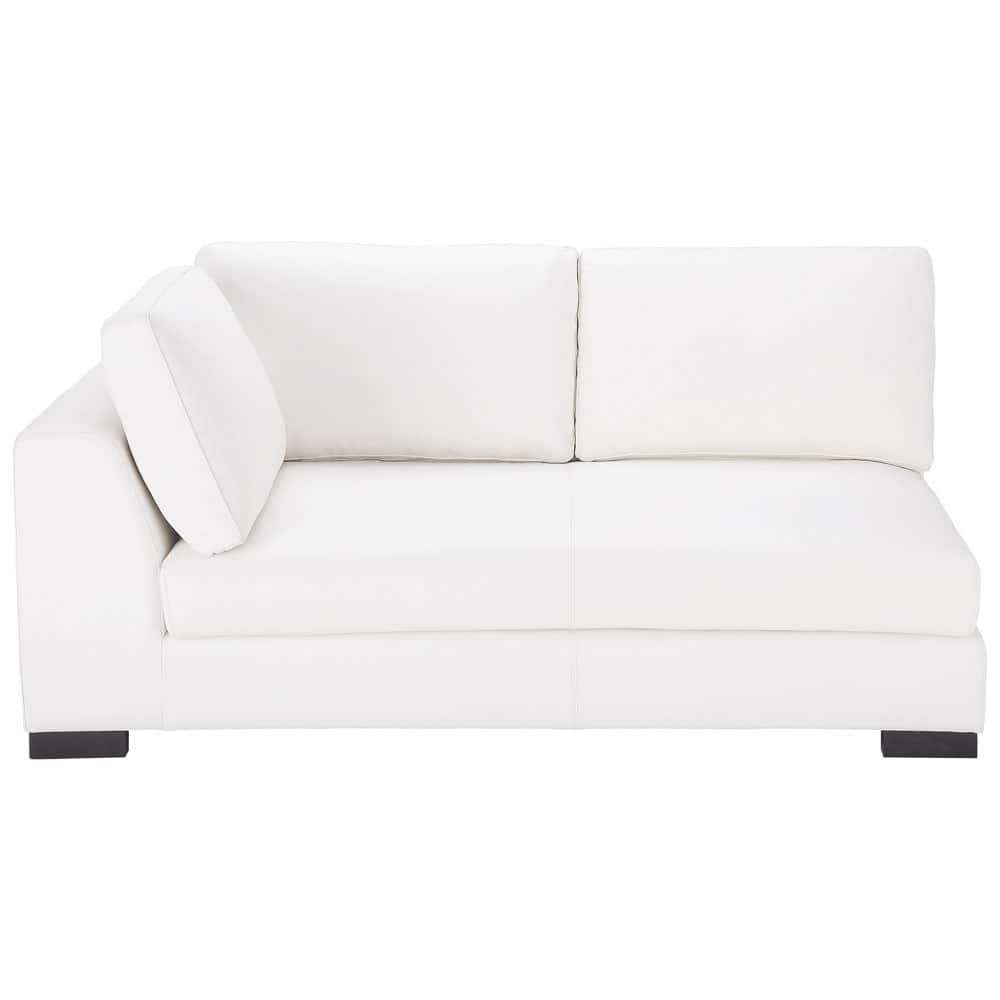 Leather LHF modular sofa bed in white