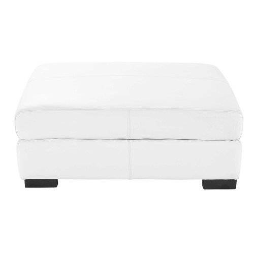 Leather modular pouffe in white