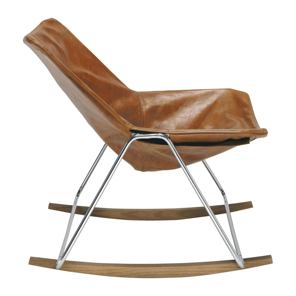 Leather rocking chair in brandy colour