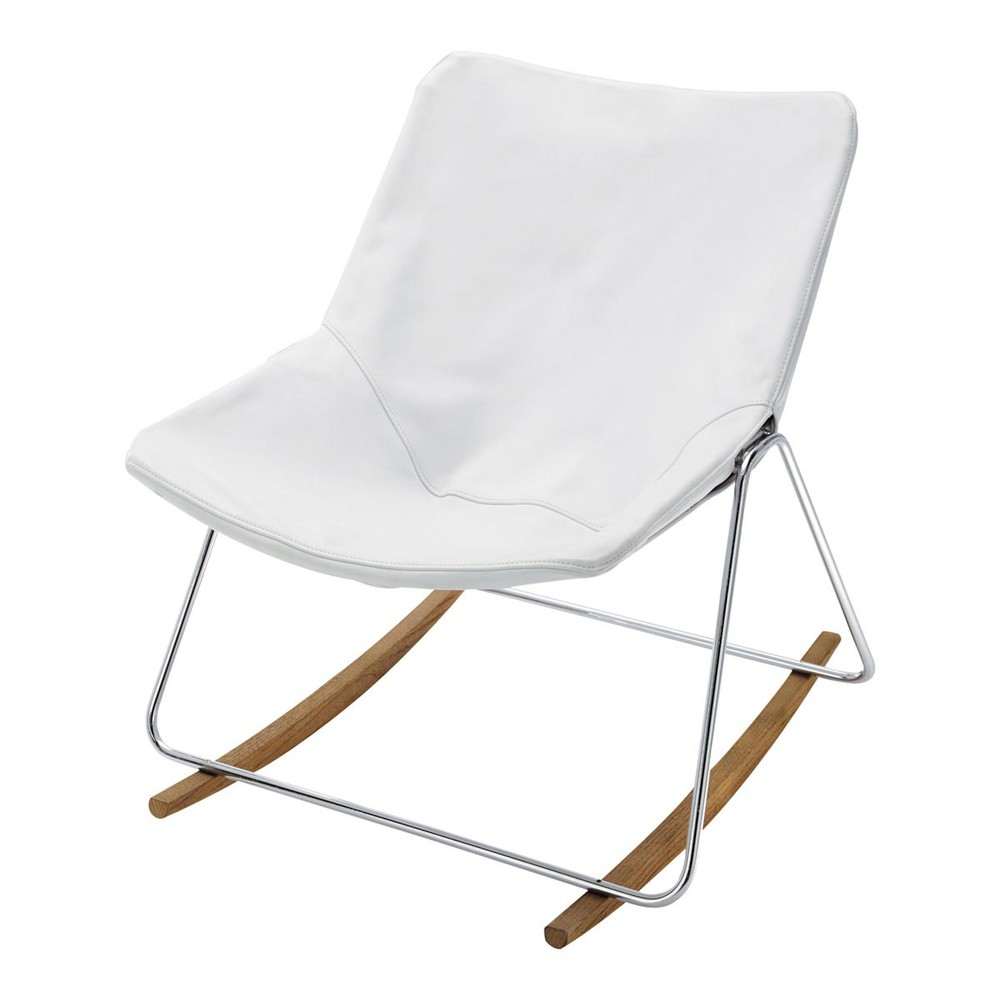 Leather rocking chair in white