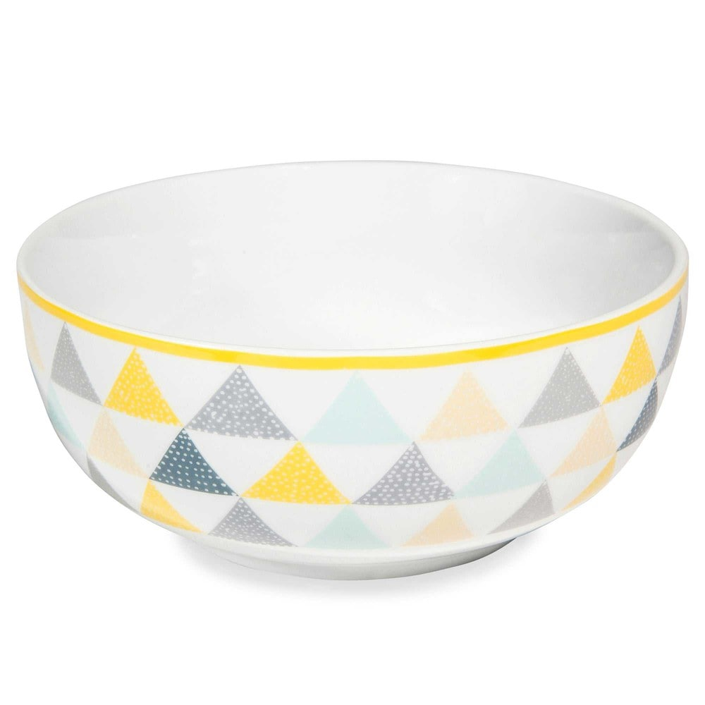 LEMON white porcelain salad bowl with triangle motifs