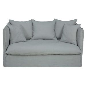 Light grey 2-seater washed linen sofa bed