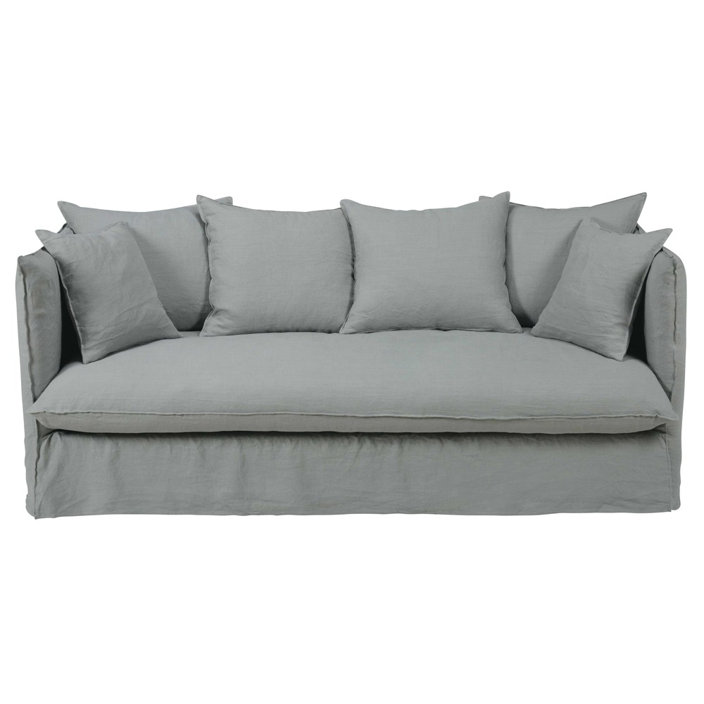 Light grey 34seater washed linen sofa bed