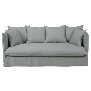 Light grey 3/4-seater washed linen sofa bed